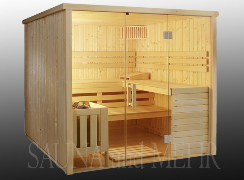 sauna relax mit glasfront 209 x 209 cm fichte ebay. Black Bedroom Furniture Sets. Home Design Ideas