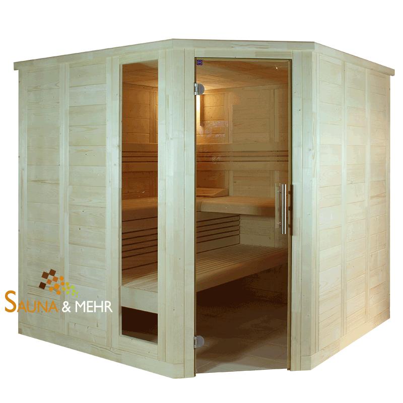 wood line classic massivholz komplett sauna eck 204 mit premium ausstattung ebay. Black Bedroom Furniture Sets. Home Design Ideas